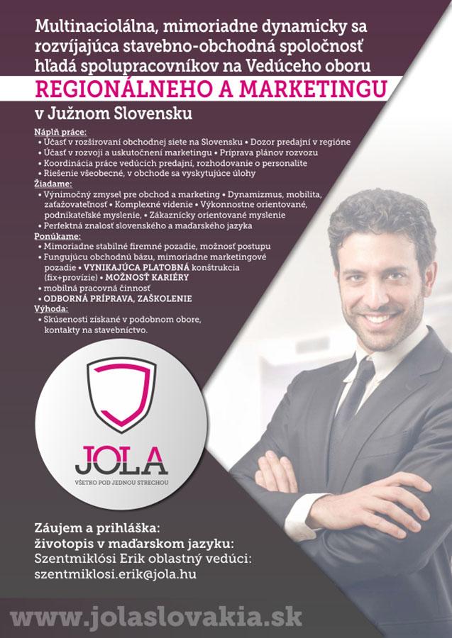 Pracovné ponuky - Regionalneho a marketingu v Južnom Slovensku